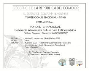 Invitación a Foro Internacional Soberania Alimentaria